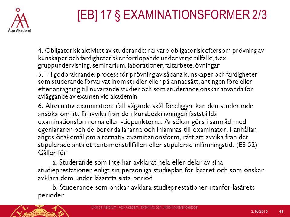 [eb] 17 § Examinationsformer 2/3